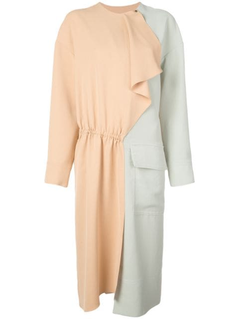TIBI Drape Twill Color Block Dress