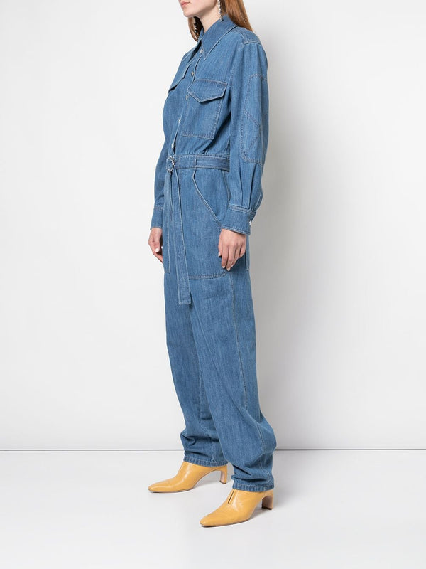 TIBI Stone Enzyme Denim Jumpsuit