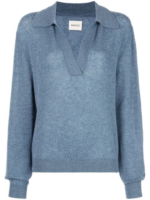 KHAITE Jo Vneck Sweater w/ Collar