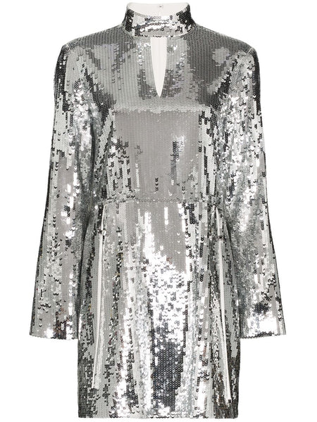 TIBI Avril Sequins Split Neck Short Dress