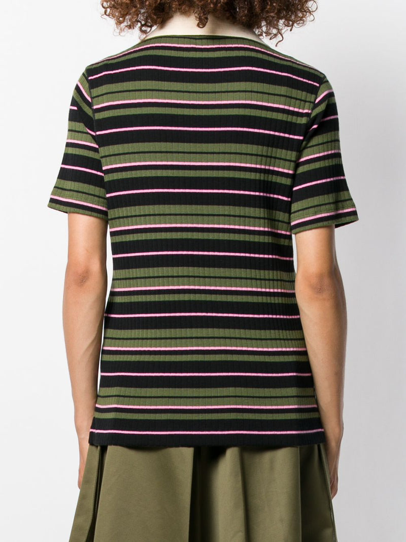 MARNI Jersey Striped Polo Neck T-Shirt