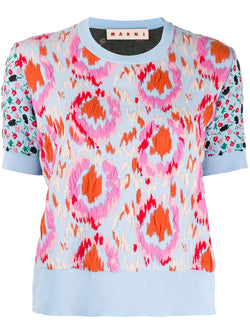MARNI Floral Textured Knitted Top