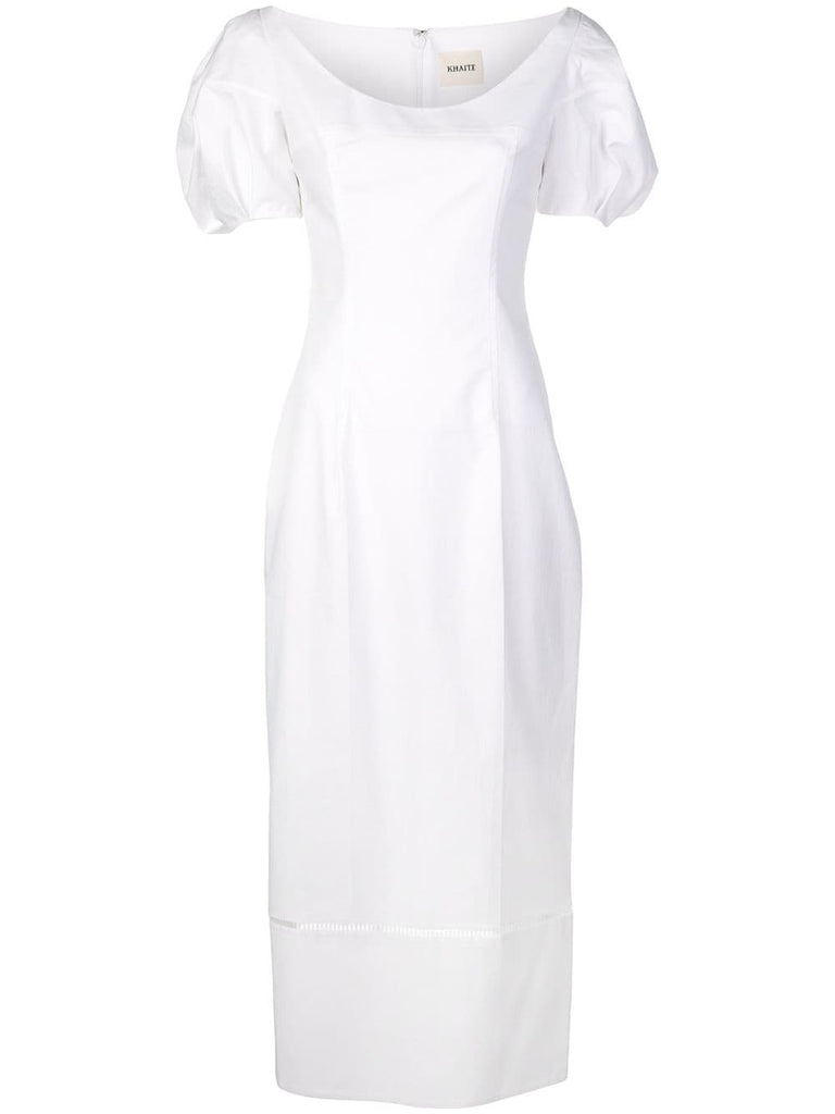 KHAITE Allison Fitted Dress w/ Puff Sleeve