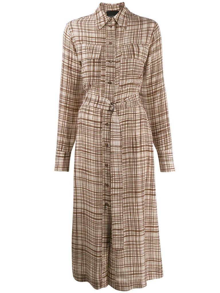 ERIKA CAVALLINI Check Print Shirtdress