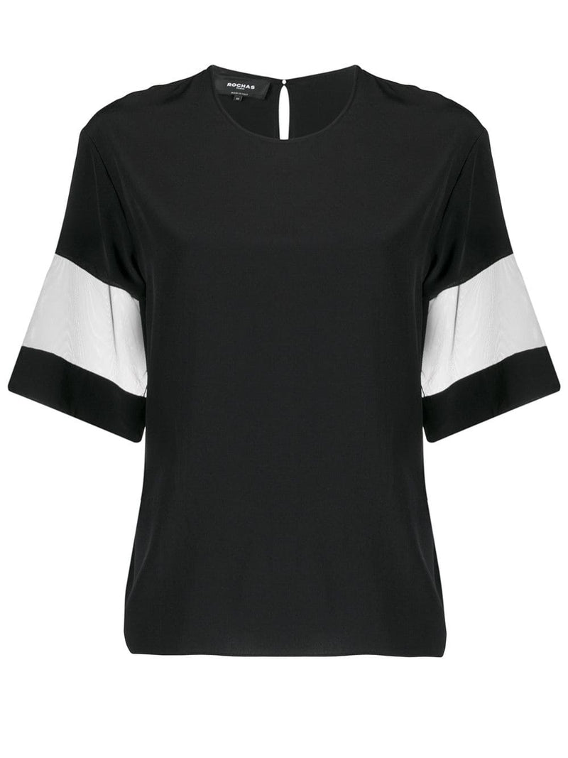ROCHAS Pina Top with Sheer Detail on Sleeve - Black
