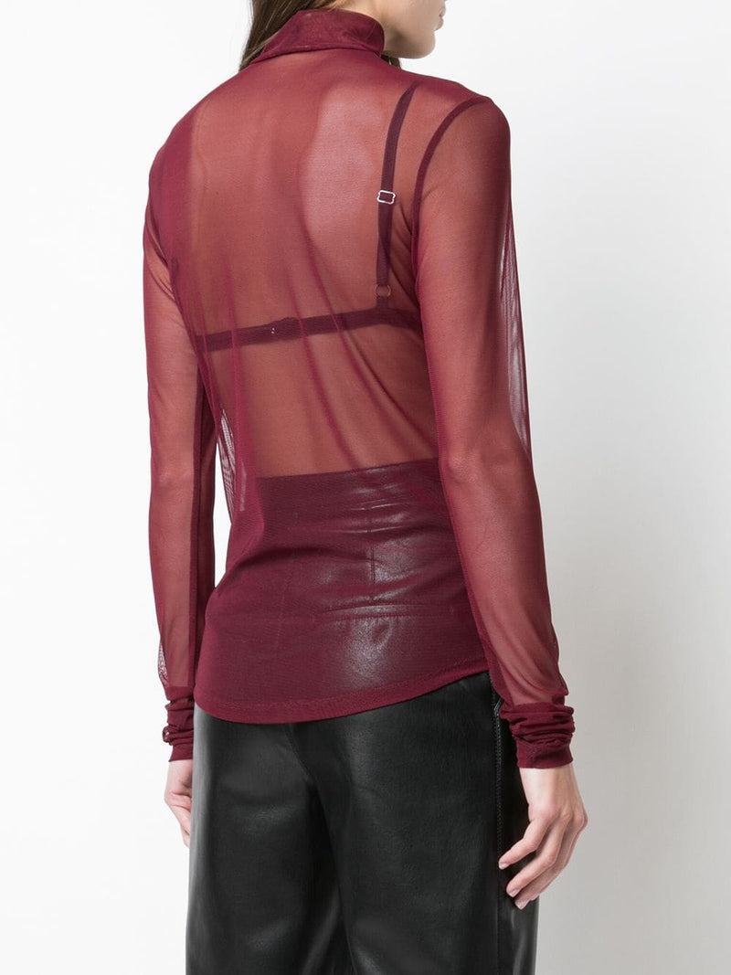NOMIA Long Sleeve Mock Neck Wine