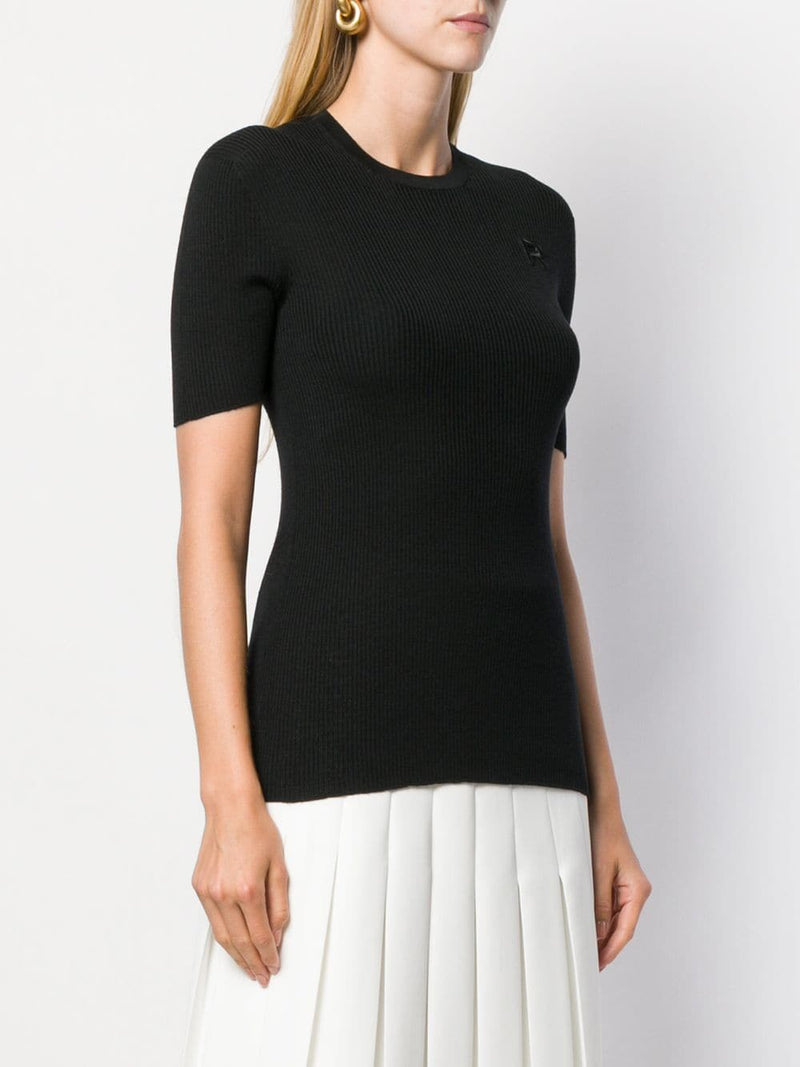 ROCHAS Maglia Short Sleeve Knit Top - Black