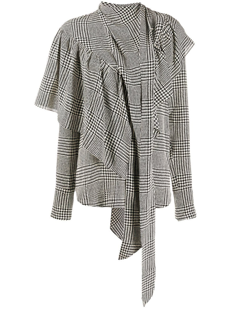 PETAR PETROV Belle Houndstooth Silk Blouse