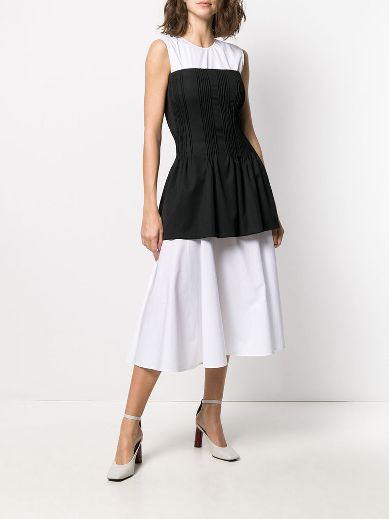 NINA RICCI Corseted Cotton Poplin Dress