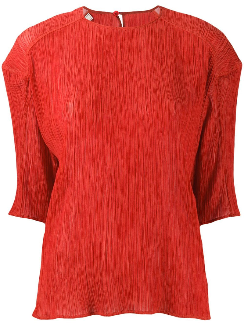 NINA RICCI Cotton & Silk Short Sleeve Top