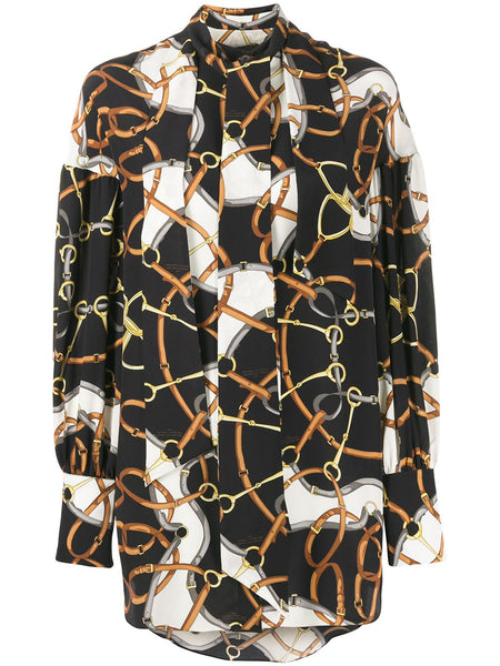 ROKH Double Tie Neck Blouse - Light Chain Print