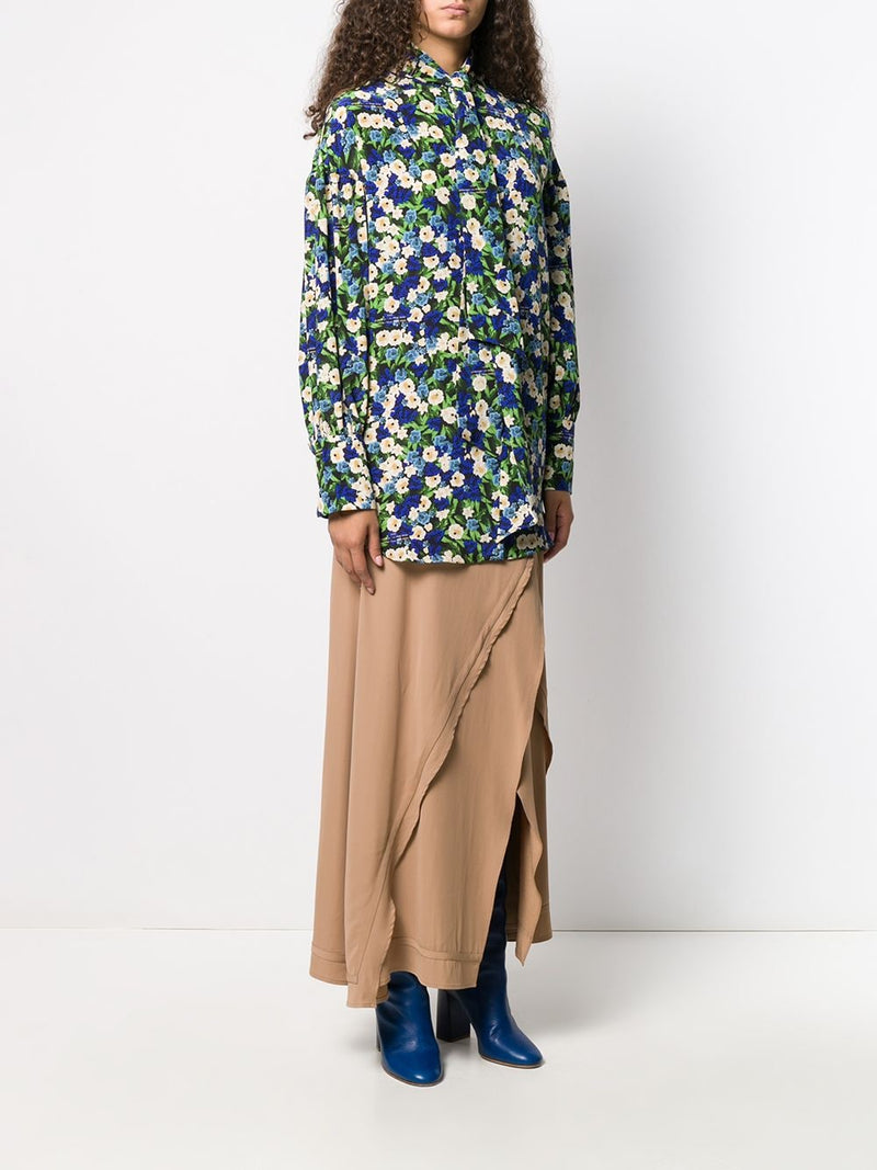 ROKH Double Tie Neck Blouse - Floral