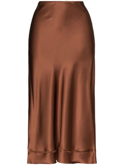 LEE MATHEWS Stella Silk Satin Skirt - Chocolate