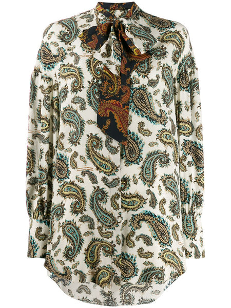 ROKH Double Tie Neck Blouse - White Paisley