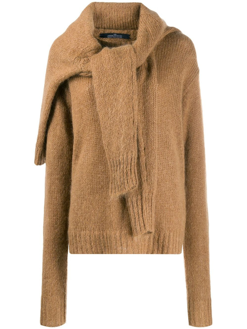 ROKH Double Tie Front Sweater - Toffee