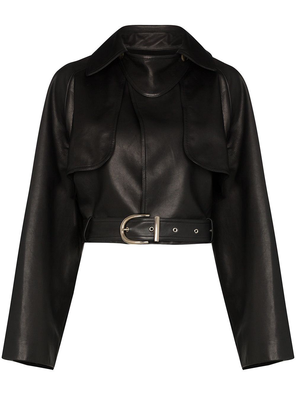 KHAITE Krista Cropped Leather Jacket