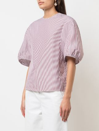 TIBI Striped Balloon Sleeve Crewneck Top