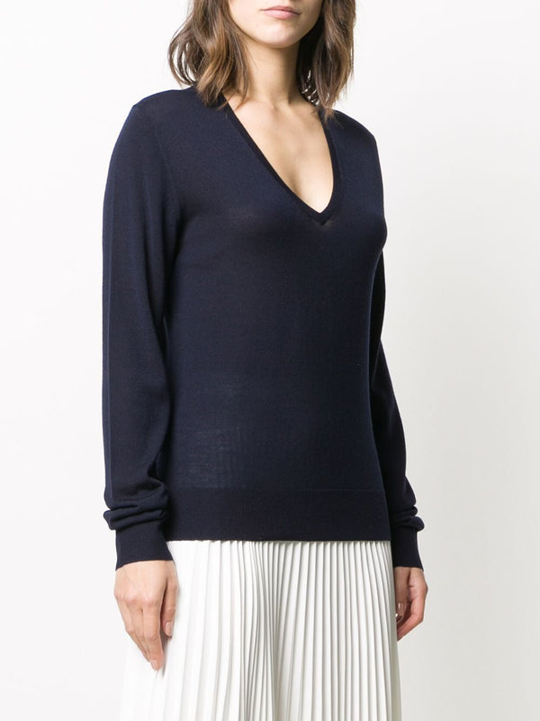JOSEPH V-Neck Fine Merino Sweater - Navy