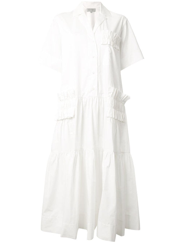 LEE MATHEWS Elsie Short Sleeve Pleat Shirtdress
