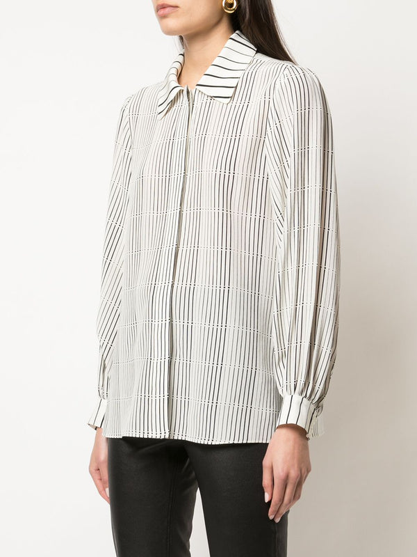 ARIAS Button Down Puff Sleeve Blouse - Off-White Striped