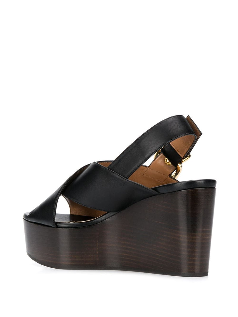 MARNI Leather Wedge Sandals - Black