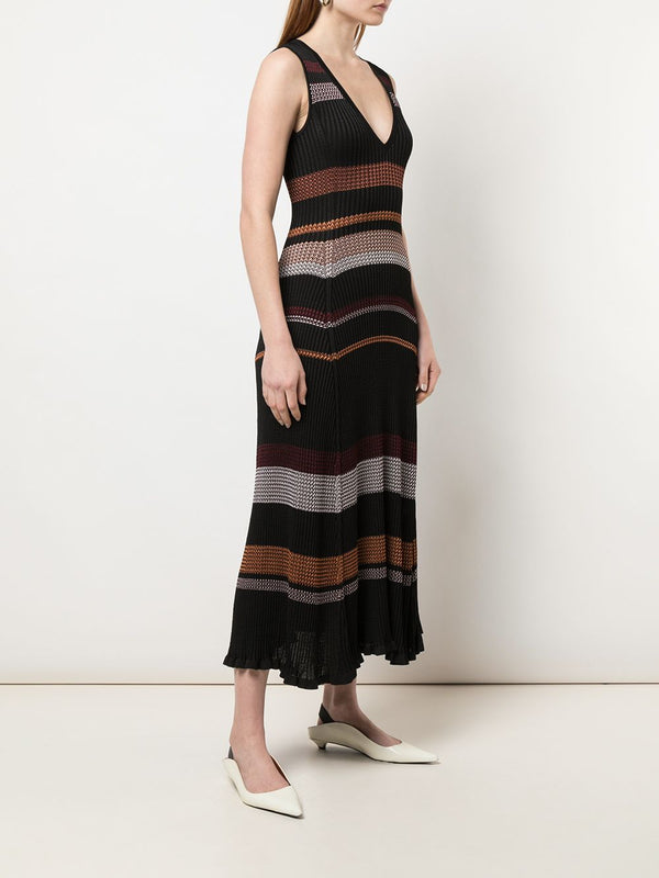 PROENZA SCHOULER Viscose Zig Zag Dress - Black Multi