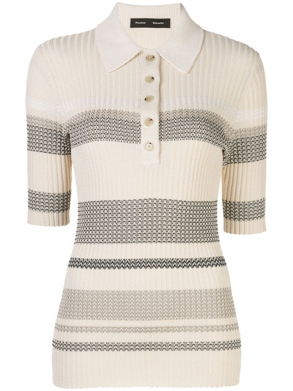 PROENZA SCHOULER Zig Zag Knit Polo Top - Pale Blush
