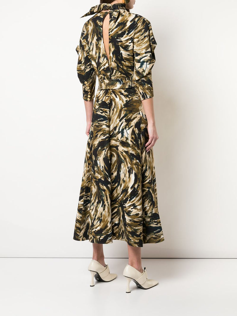 PROENZA SCHOULER Feather Printed Cady Draped Sleeve Dress