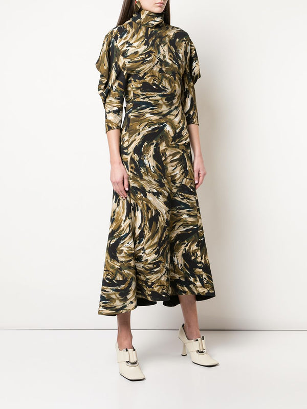 PROENZA SCHOULER Feather Printed Cady Draped Sleeve Dress (PRE-ORDER)