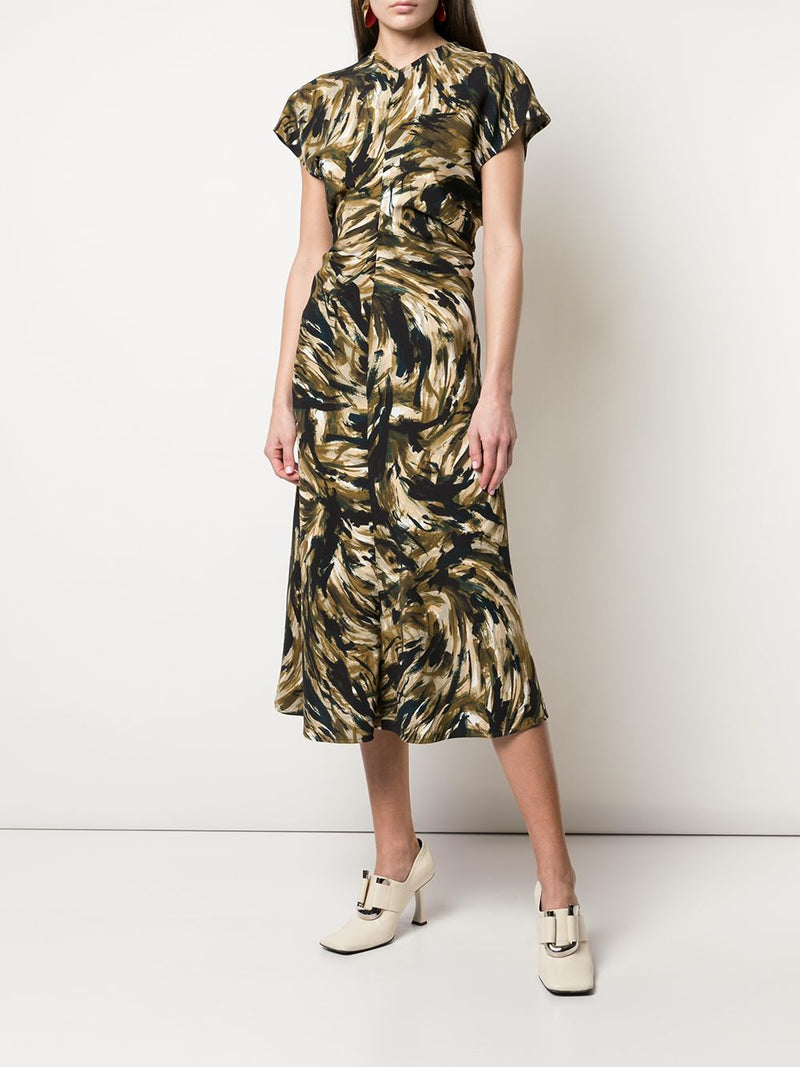 PROENZA SCHOULER Feather Printed Cady Short Sleeve Dress