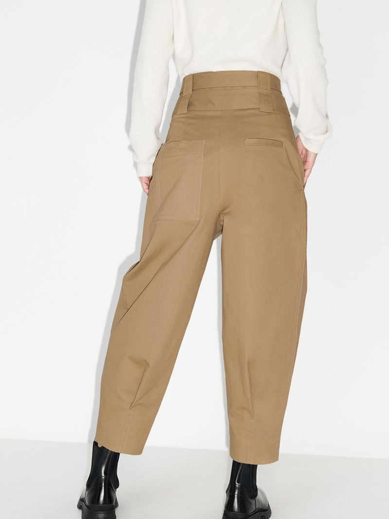 TIBI Myriam Twill Double Waisted Sculpted Pant - Khaki