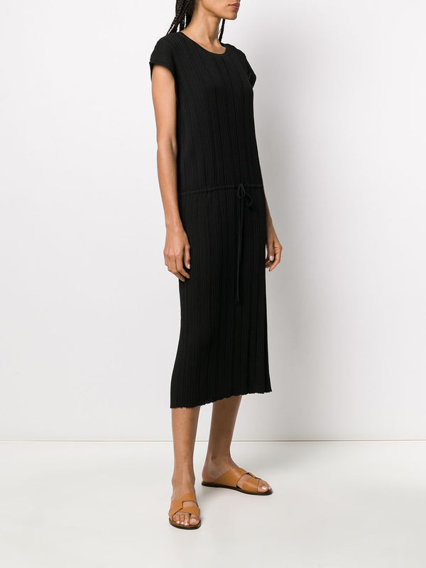 JOSEPH Black Tyler Pleated Cotton Dress