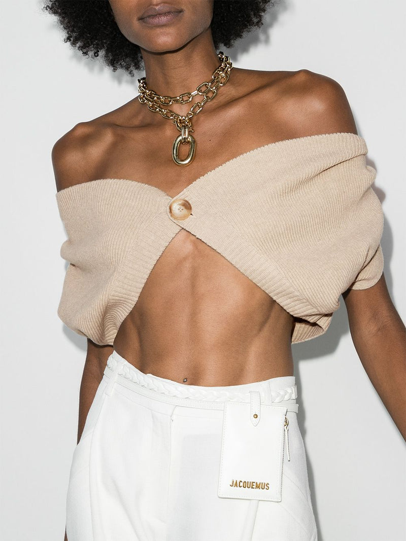 JACQUEMUS Off-The-Shoulder Le Cardigan Valerie - Beige