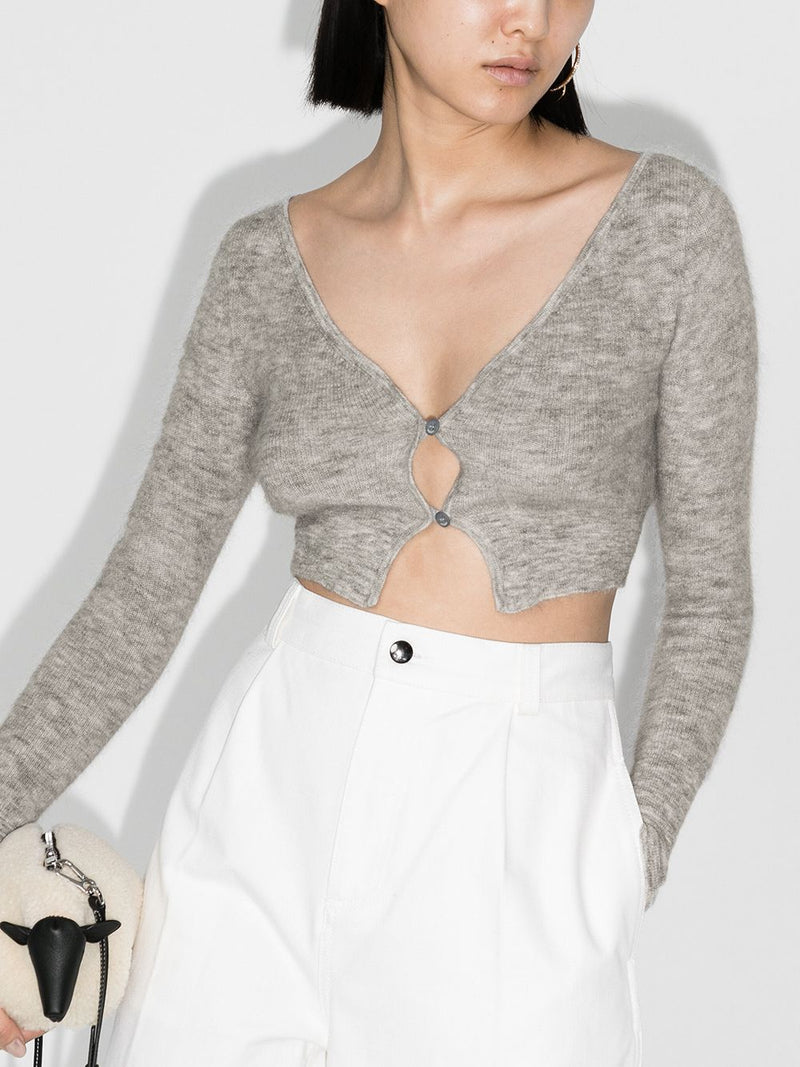 JACQUEMUS Cropped Le Cardigan Alzou - Light Grey