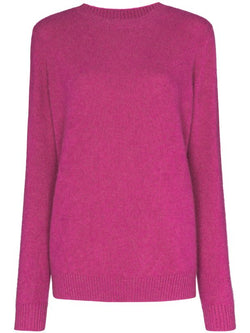 THE ELDER STATESMAN Crew sweater in Magenta