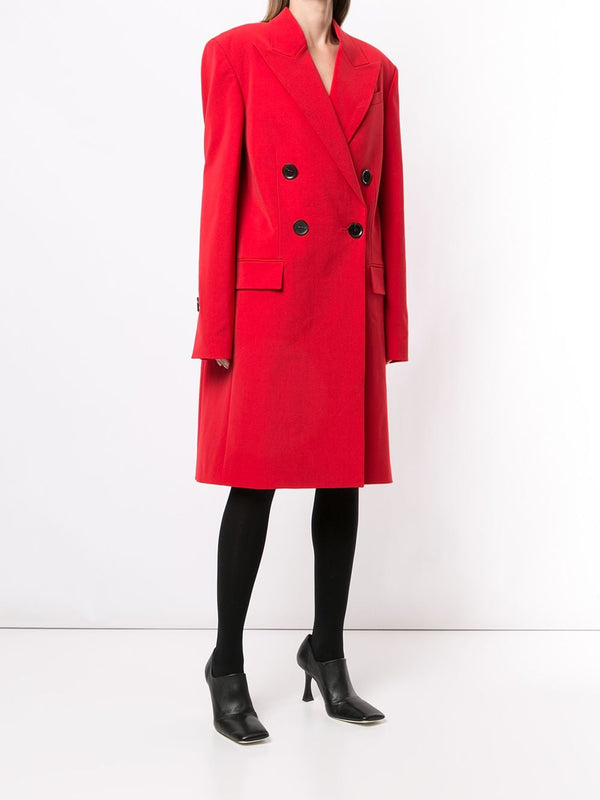 PROENZA SCHOULER Technical Wool Suiting Double Breasted Coat - Red