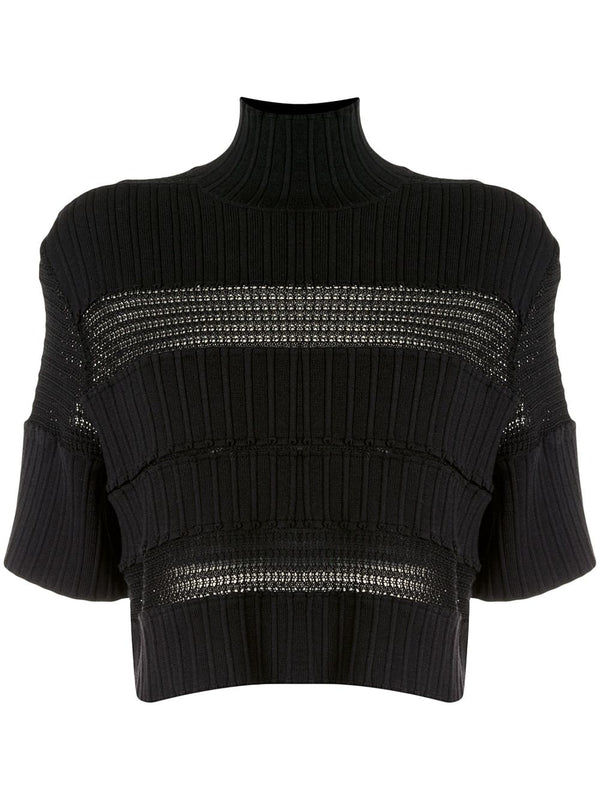 PROENZA SCHOULER Ribbed Knit Lace Cropped Short Sleeve