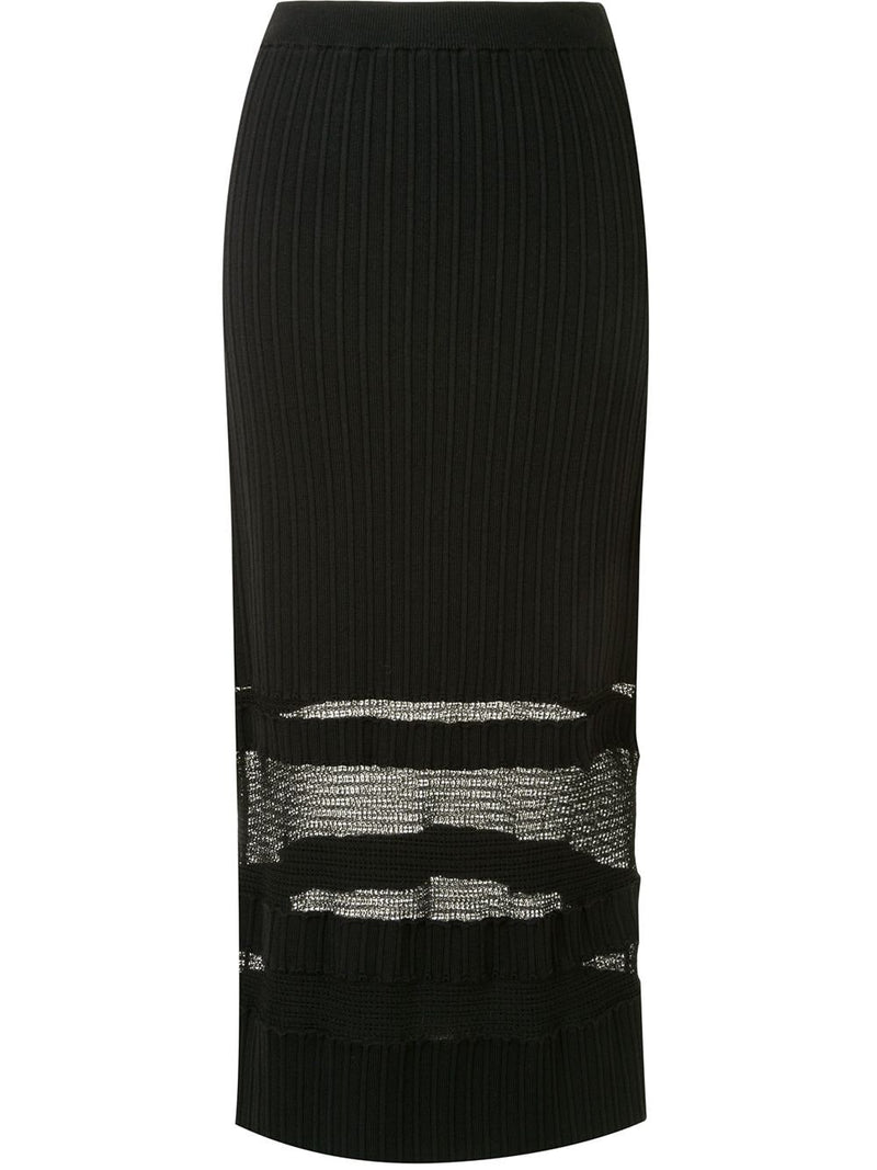 PROENZA SCHOULER Ribbed Knit Lace Midi Skirt