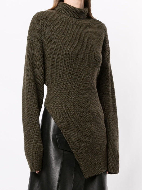 PROENZA SCHOULER Merino Asymmetrical Turtleneck Sweater - Fatigue