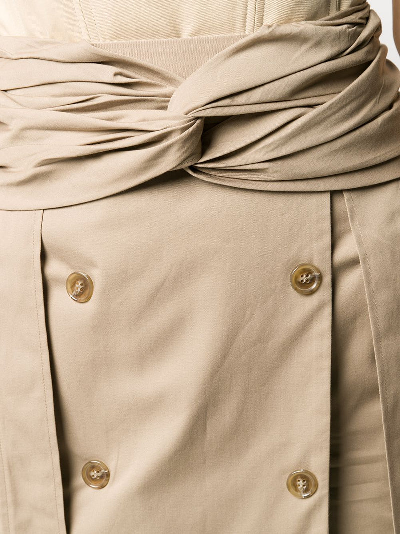 ROKH Twist Wrap Midi Skirt - Burlywood Beige