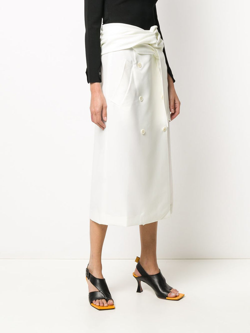 ROKH Twist Wrap Midi Skirt