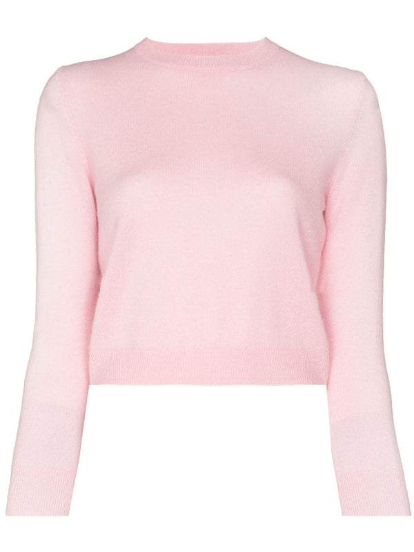 TIBI Featherweight Cashmere Perfect Shrunken Crewneck Sweater / Blossom