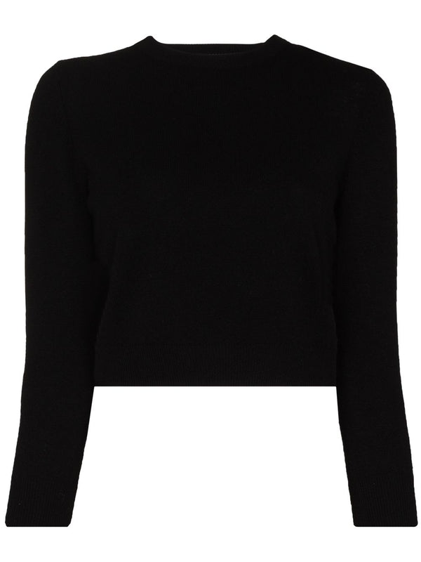 TIBI Featherweight Cashmere Perfect Shrunken Crewneck Sweater / Black