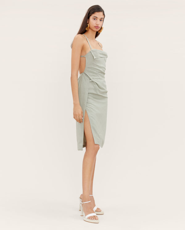 JACQUEMUS Laurier Linen Open Back Dress