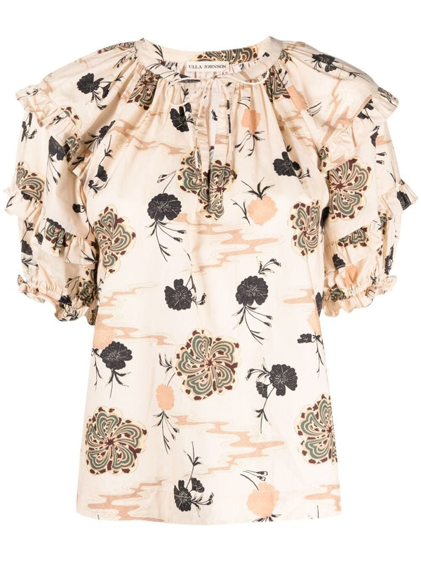 ULLA JOHNSON Mari Floral Print Top