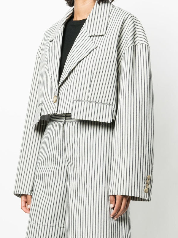 TIBI Railroad Cropped Stripe Denim Blazer