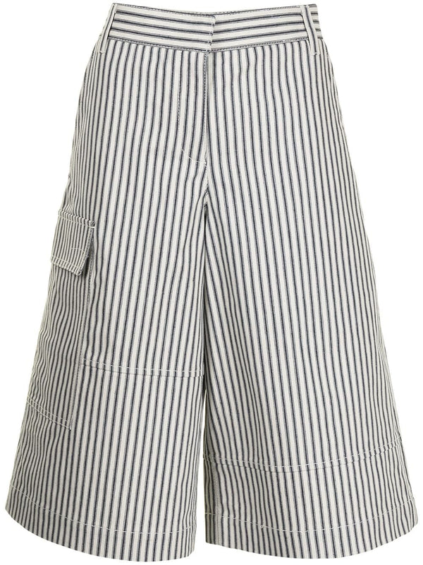 TIBI Railroad Stripe Denim Culottes