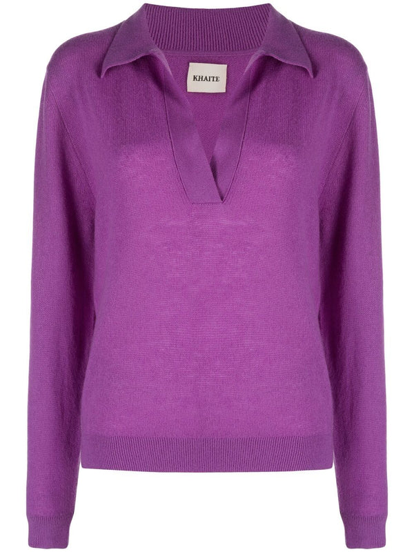 KHAITE Jo Cashmere Polo Sweater