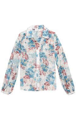 ARIAS Gathered Shoulder Blouse - Blue Watercolor Floral