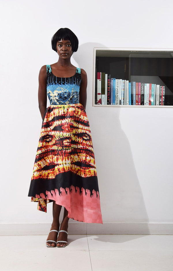 LISA FOLAWIYO Jire Printed Midi Dress
